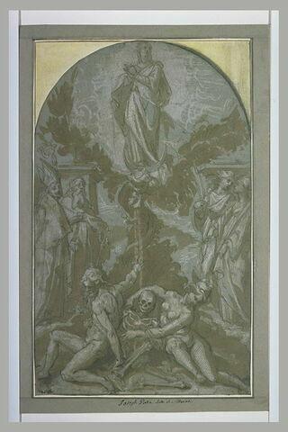L'Immaculée Conception entourée de quatre saints et Adam et Eve