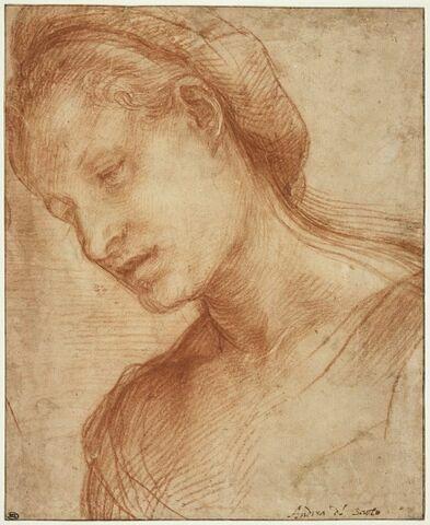 Tête de femme, de trois quarts coiffée d'un turban : Vierge Marie