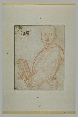Homme à mi-corps tenant  un livre: Saint Barthélemy