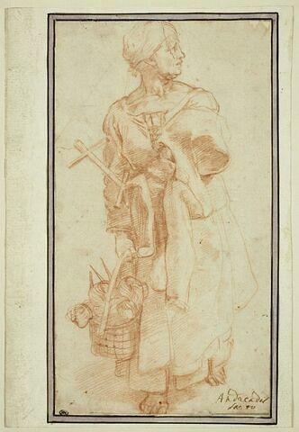 Femme debout, portant des instruments nécessaires pour dévider