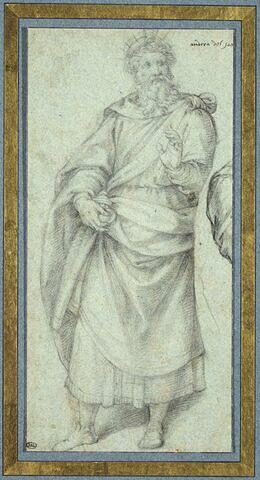 Figure drapée d'un roi portant de la main droite un vase d'encens