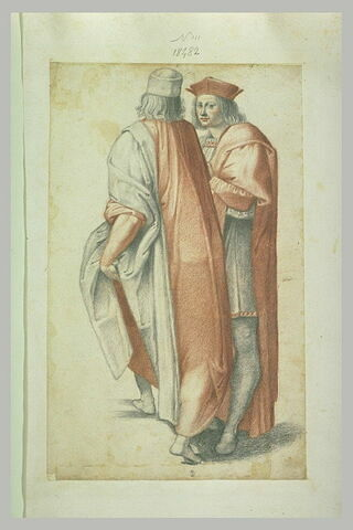 Deux figures d'hommes debout, l'un est vu de dos