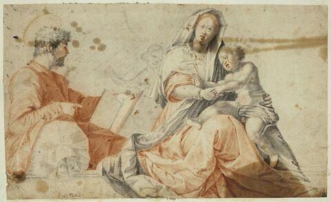 Sainte Famille et silhouette d'une figure d'enfant