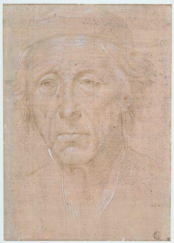 Tête d'homme âgé, de face, coiffé d'une toque
