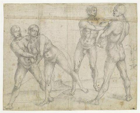 Deux hommes nus luttant, et deux femmes nues luttant