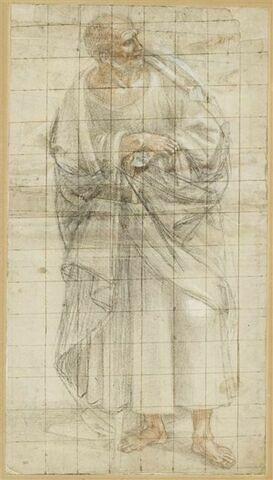 Homme debout, drapé, les mains jointes sur la poitrine : saint ou apôtre (?)