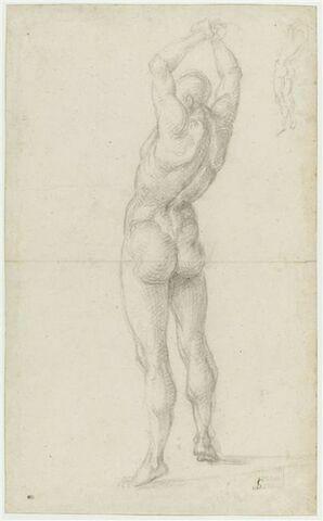 Homme nu, de dos, bras joints au-dessus de la tête ; repris en haut à droite