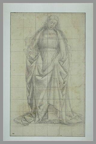 Sainte drapée, debout, tenant un vase de la main droite : sainte Madeleine ?
