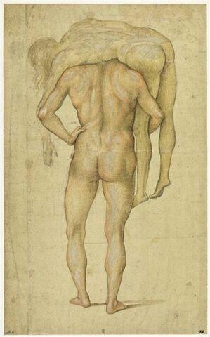 Homme nu, debout, de dos, portant sur ses épaules un corps inerte