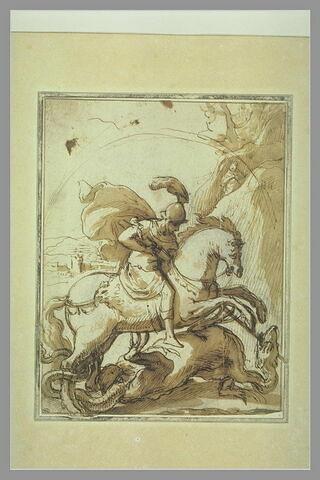 Saint Georges terrassant le dragon devant la figure de la Cappadoce