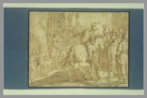 Clorinde demande au roi de Jérusalem la grâce d'Olinde et de Sophronie