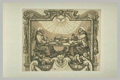 Deux saints franciscains écrivant sous la dictée du Saint-Esprit