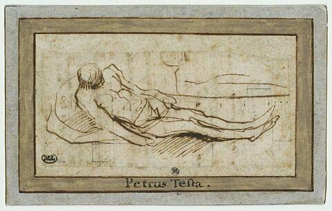 Homme étendu, sur une pierre, vu de dessus : le Christ mort