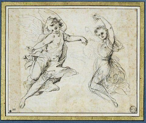 Deux anges volant répandant des fleurs ; croquis d'un angelot
