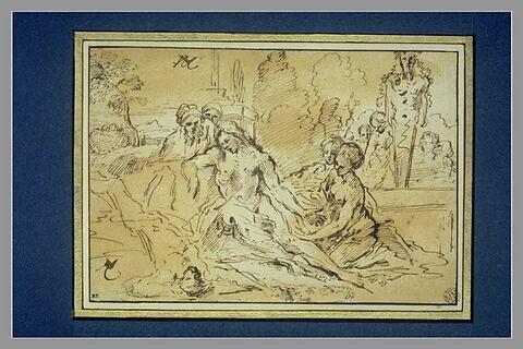 Cinq figures autour d'un homme mort, à droite un terme de Pan