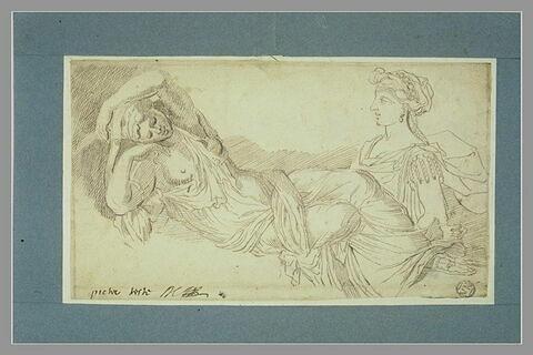 Ariane endormie ; buste de femme, de profil vers la gauche