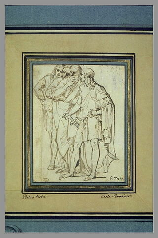 Quatre hommes drapés, débout, tournés vers la gauche : les philosophes ...