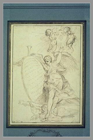 Renommée foulant aux pieds l'Envie ; armoiries aux trois abeilles Barberini