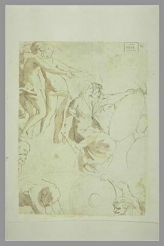 Trois femmes nues, deux figures tenant un disque, et des demi-figures