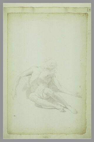Homme nu, allongé, les bras ouverts