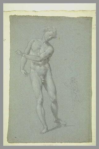 Homme nu, debout, de face, et deux croquis pour la même figure