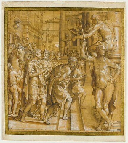 Pépin le bref conduisant captif Astolphe, roi des Lombards, et remettant à l'Eglise l'exarchat de Ravenne