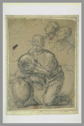 Homme agenouillé transvasant le contenu d'un vase ; deux études de tête
