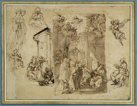 Naissance de la Vierge et détails des figures