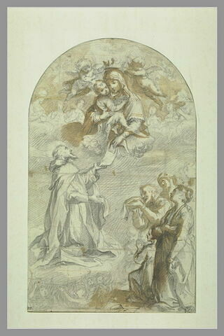 Vierge à l'Enfant couronnée par des anges donnant la Règle à saint François