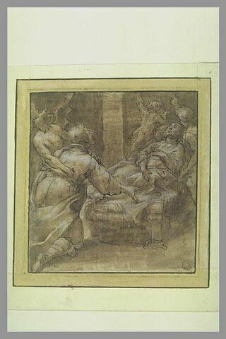 Un vieillard mourant entre un ange et un diable fuyant