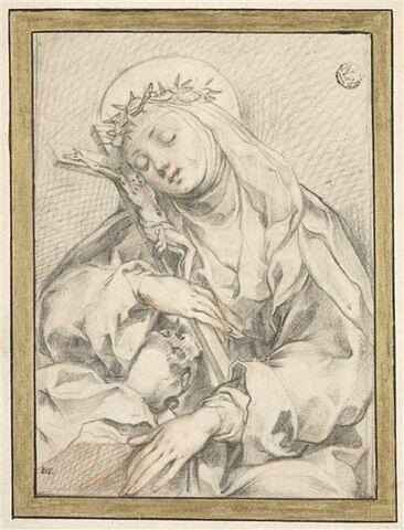 Sainte Catherine de Sienne en méditation, appuyant sa tête contre la croix