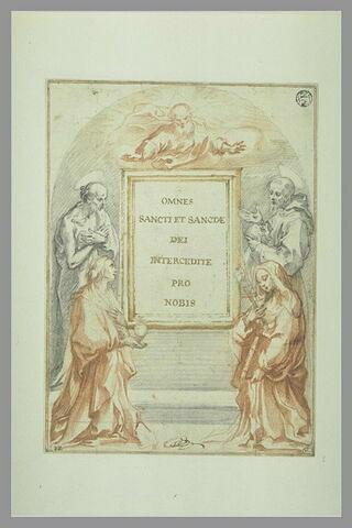 Projet de tableau d'autel avec des saints et Dieu entourant un cadre vide