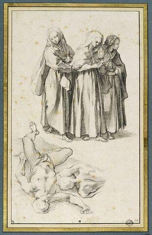 Sainte Claire et deux de ses compagnes, et deux figures masculines, étendues