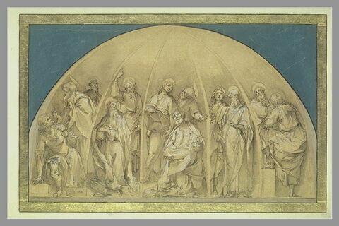 Projet de décor d'abside, avec les douze apôtres nimbés