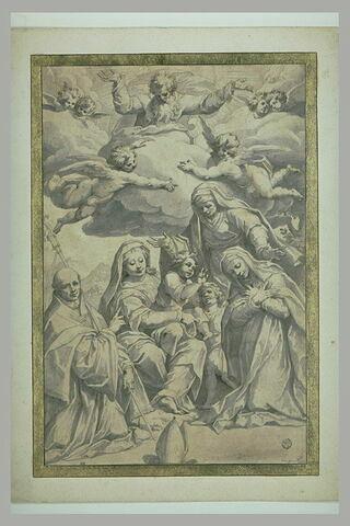 Dieu le Père dans des nuées entouré d'anges et de chérubins, regardant la Vierge à l'Enfant avec le petit saint Jean entre deux religieuses et un évêque