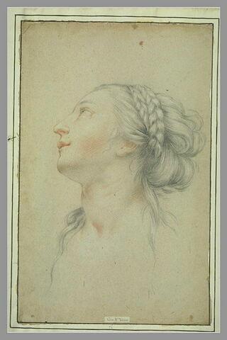 Tête de jeune femme, de profil à gauche, regardant vers le haut