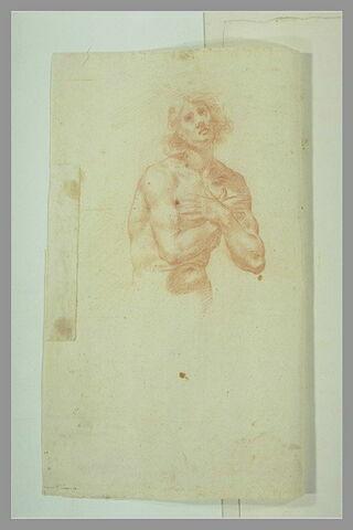 Demi-figure d'homme nu, les bras croisés sur la poitrine