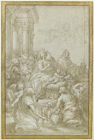 Adoration des bergers, avec le petit saint Jean et deux autres saints