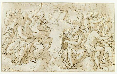 Deux groupes de figures assises, sur des nuages : princes séculiers