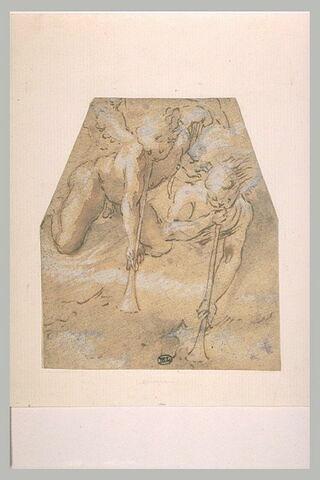 Deux anges nus sonnant de la trompette