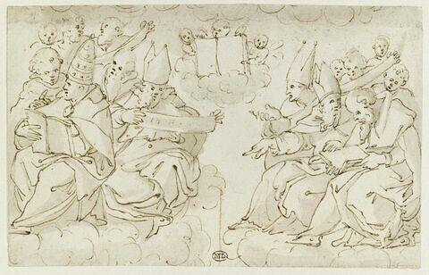 Deux groupes de pontifes, évêques, prêtres et un angelot