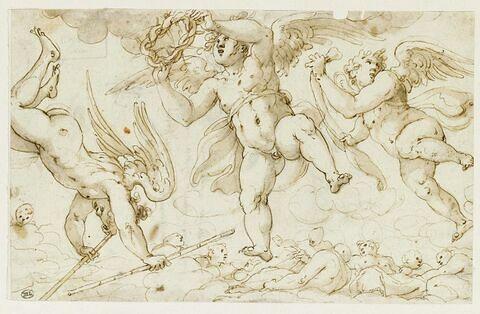 Trois anges portant les roseaux et la couronne d'épines de la Passion