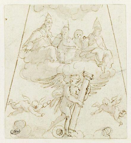 Quatre figures d'évêques ou de pontifes, au dessus d'un ange tenant la colonne de la Flagellation