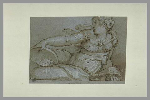 Femme étendue, tenant une corbeille pleine de monnaie : la 'Libéralité'