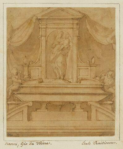 Projet d'autel ou de tombeau avec la Vierge et l'Enfant