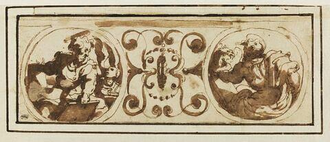 Saint Matthieu et saint Marc, dans deux cartouches circulaires