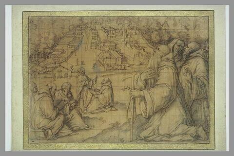 Vue d'un ermitage avec plusieurs moines