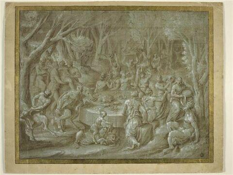 Festin de divinités bacchiques et sylvestres au milieu des bois