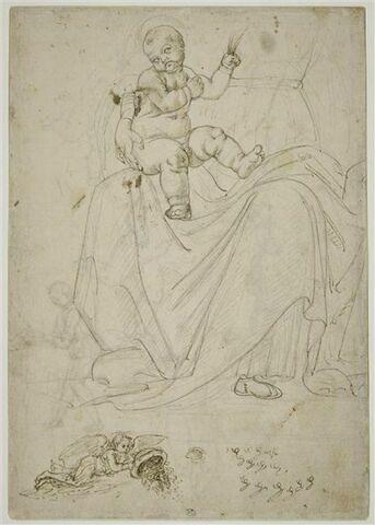 L'Enfant Jésus sur les genoux de la Vierge ;  ange volant renversant un vase ; essais d'écriture