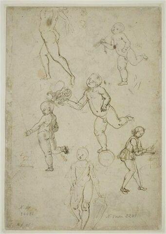 Un homme nu courant ; trois enfants de putto en équilibre sur une jambe ; enfant travaillant sur une enclume ; enfant debout tenant un écu